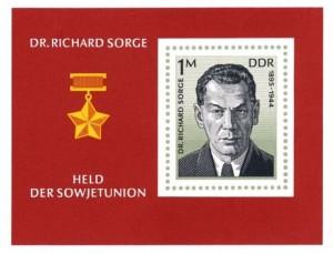 """DDR-Briefmarke [1976] zu Ehren des """"Kundschafters des Friedens"""" Richard Sorge"""