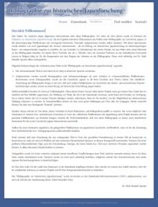 """Zur Internetseite der """"Bibliographie zur historischen Japanforschung"""""""